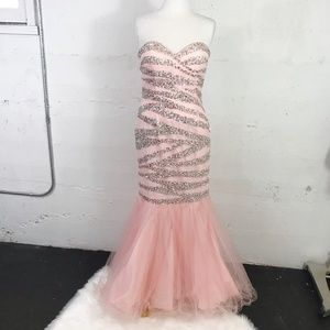 Terani Couture Pale Pink Beaded Stripe Prom Dress